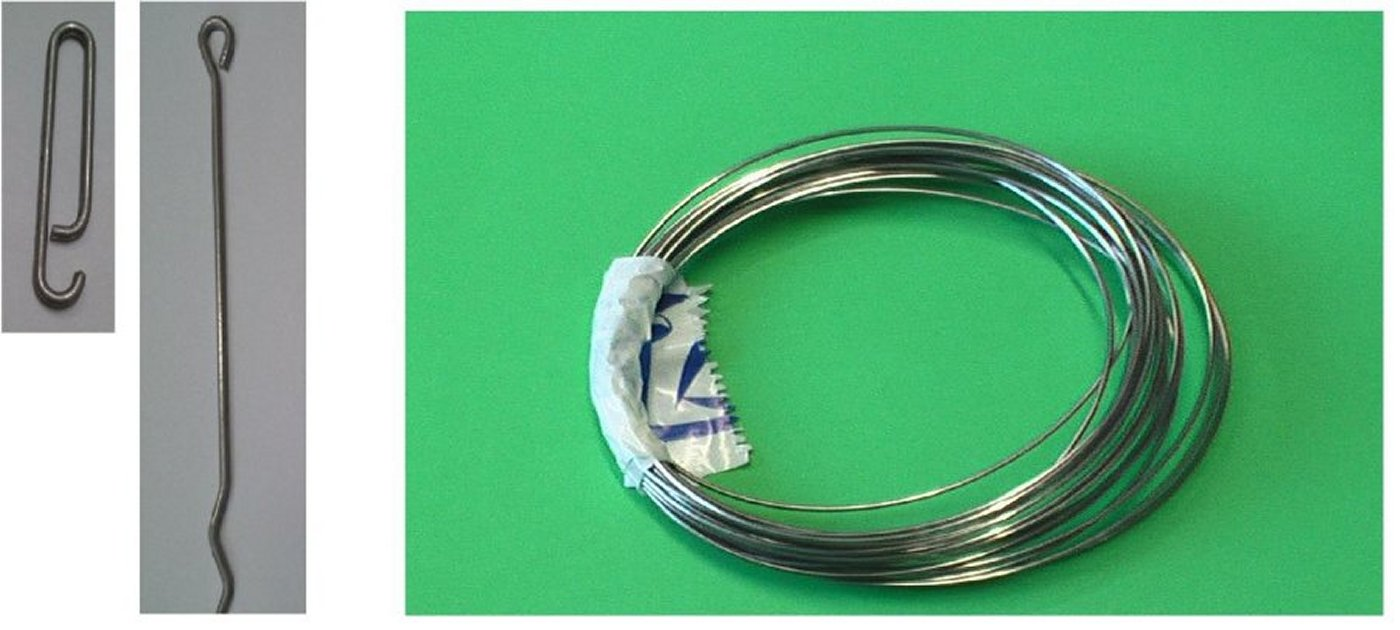 Hooks for leads, long tail, stainless steel wire